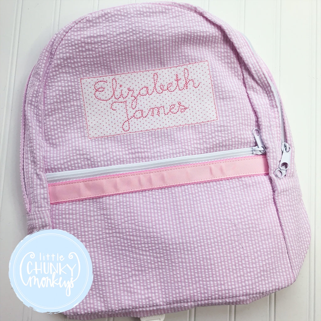 Backpack + Applique Personalization on Pink Seersucker