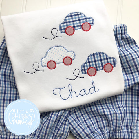 Boy Shirt - Car Trio on White Shirt