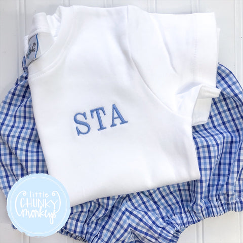 Boy Shirt - Stitched Monogram on White shirt