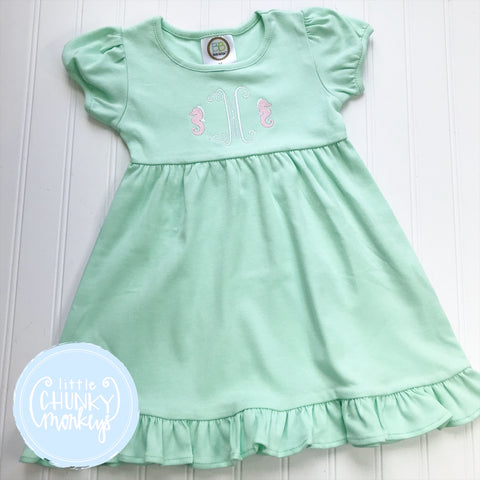 Girl Summer Dress - Embroidered Seahorse with Initial on Mint Ruffle Dress