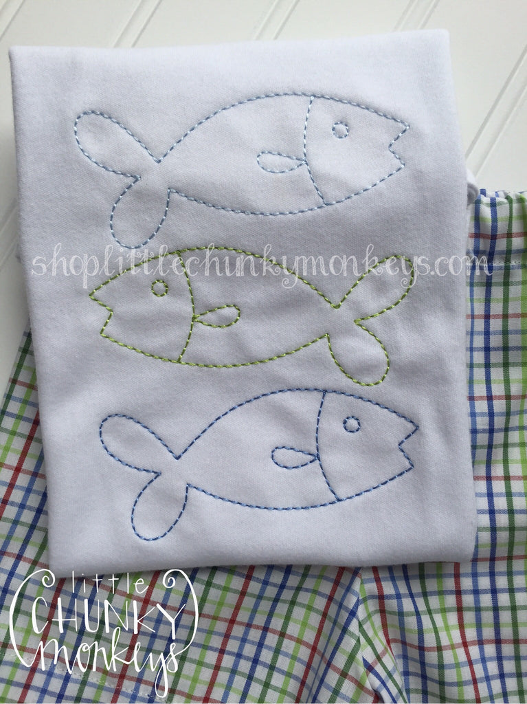 Boy Outfit - Boy Shirt - Personalized Vintage Stitch Fish Trio Tee