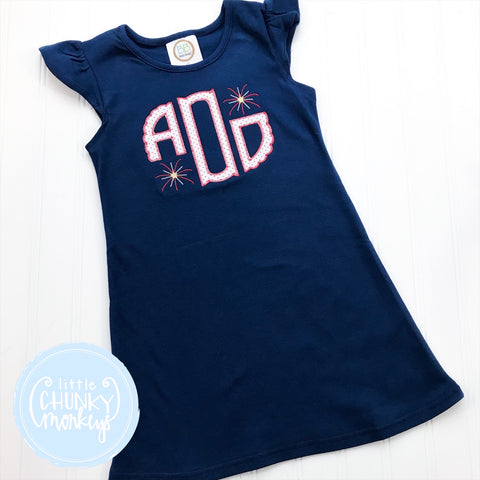 Girl Dress - Circle Applique Monogram on Navy Flutter Sleeve Dress