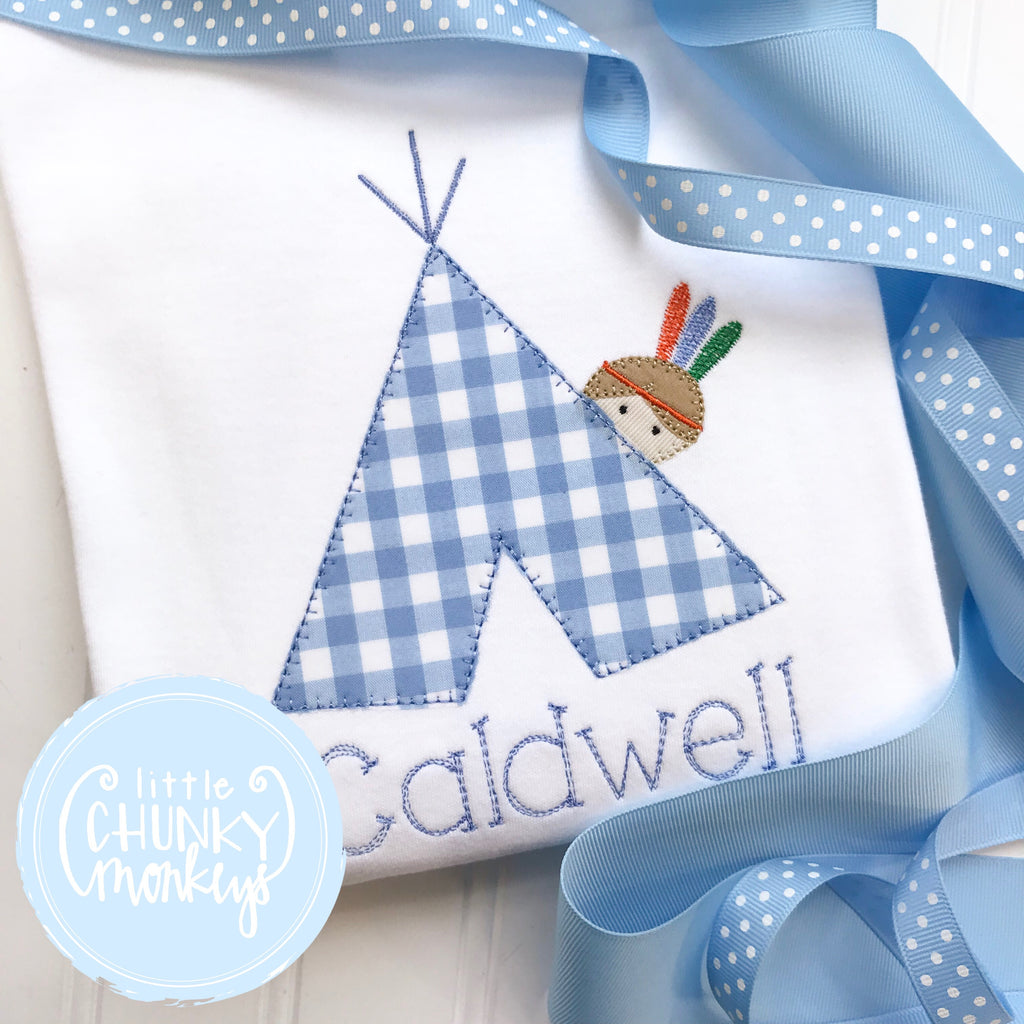 Boy Shirt - Teepee Boy Indian Applique Shirt