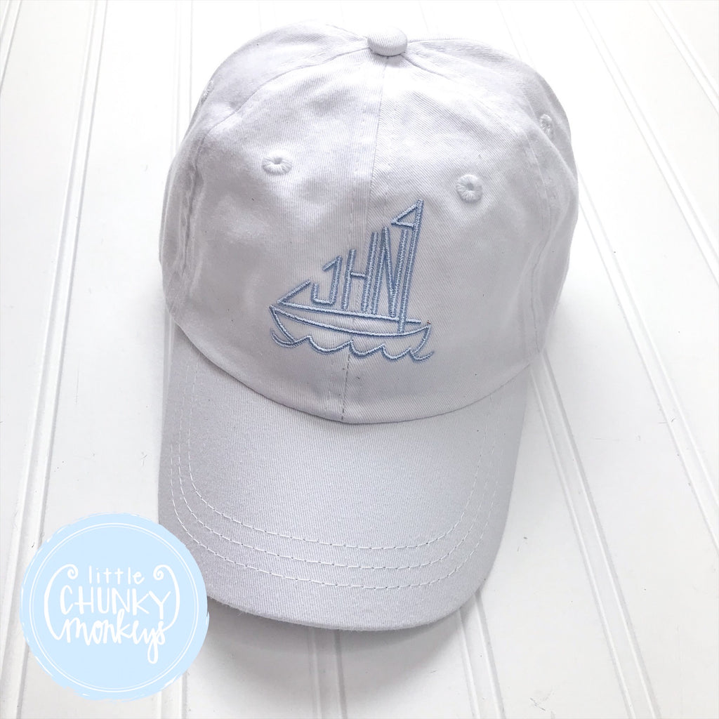 Toddler Kid Hat -White Hat with Stitched Sailboat Monogram