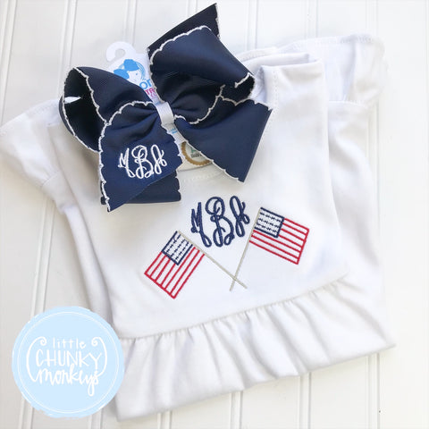 Girl Dress - Embroidered Flags and Personalization on White Short Sleeve Dress