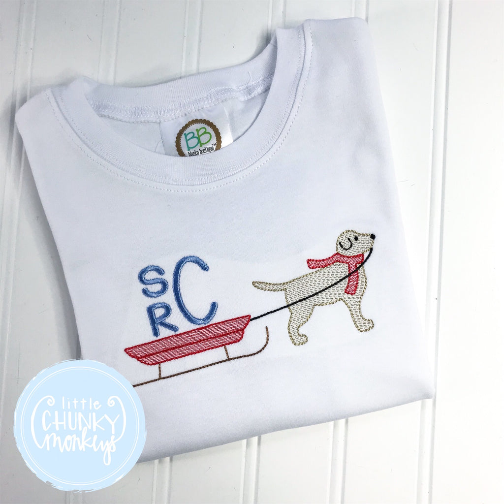 Boy Shirt -Dog Pulling Sled with Initials