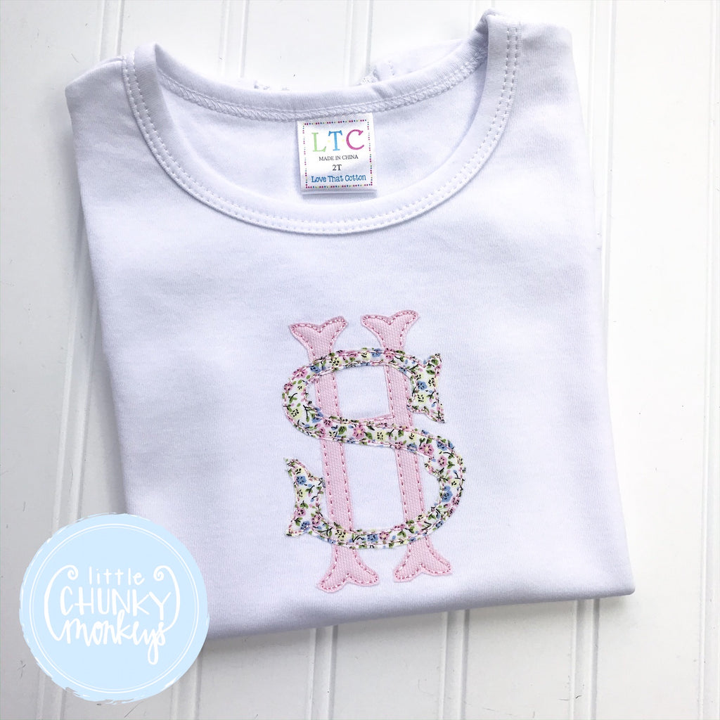 Girl  Shirt White - Stacked Monogram