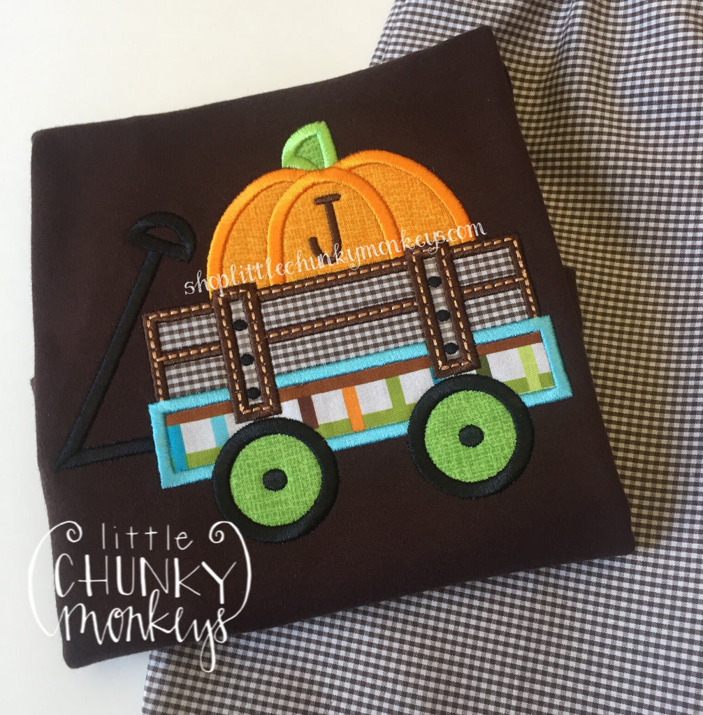 Boy Shirt -Personalized Pumpkin Wagon on Brown Shirt