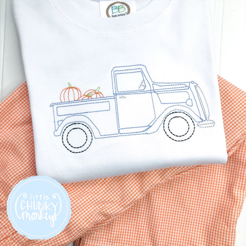 Boy Shirt- Vintage Stitch Truck filled with Pumpkins