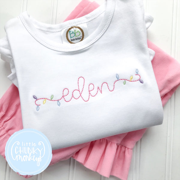 Girl Shirt -Embroidered Christmas Lights