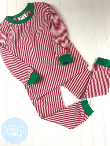 Pajama Set Toddler/Kids - Red Micro Stripe