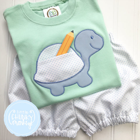 Boy Shirt - Applique Turtle with Pocket