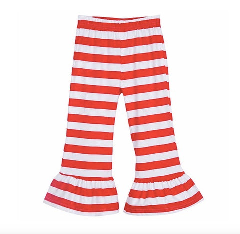 Ready to Ship - 3T Red Stripe Ruffle Pants Only