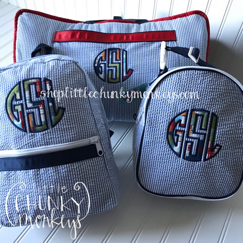 Backpack + Plaid Appliqué Monogram on Navy Seersucker