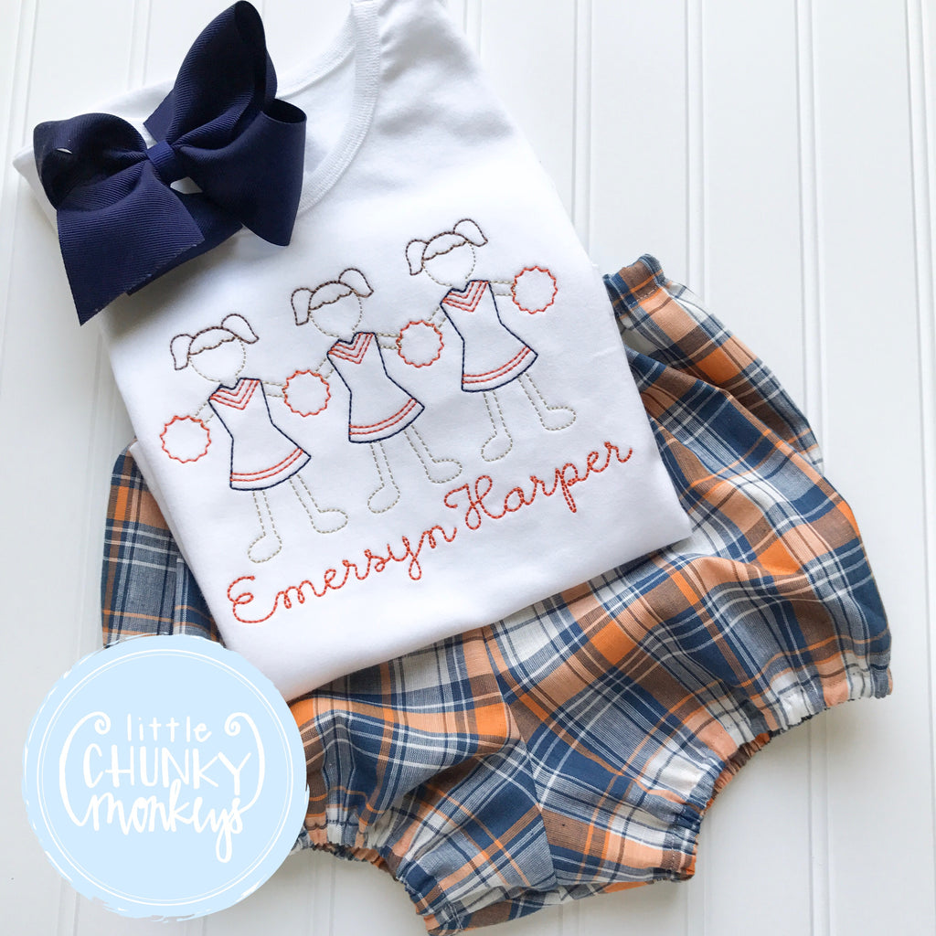 Girl Shirt- Vintage Stitch Cheer Trio - Orange & Navy