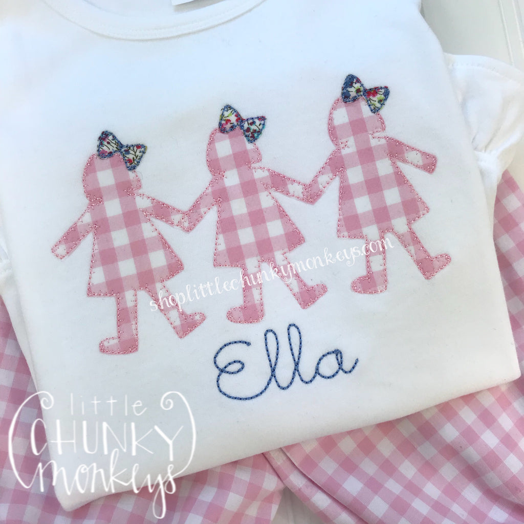 Girl Outfit - Girl Shirt - Doll Trio Applique Shirt