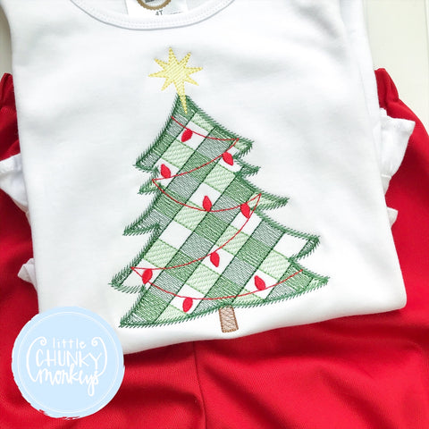 Girl Shirt -Embroidered Christmas Tree