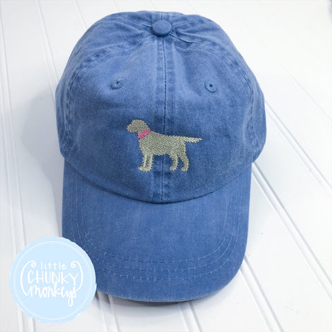 Toddler Kid Hat - Standing Lab Puppy with Pink Collar on Light Blue