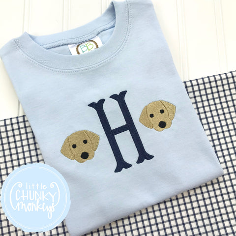Boy Shirt- Personalized Mini Puppies on Baby Blue Shirt