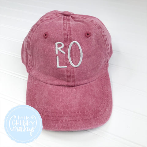 Toddler Kid Hat - Faded Red with Stacked Monogram