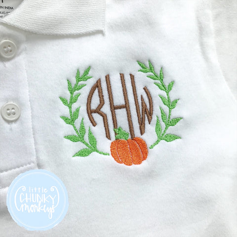 Boy Polo Shirt - Stitched Pumpkin and Vine Monogram