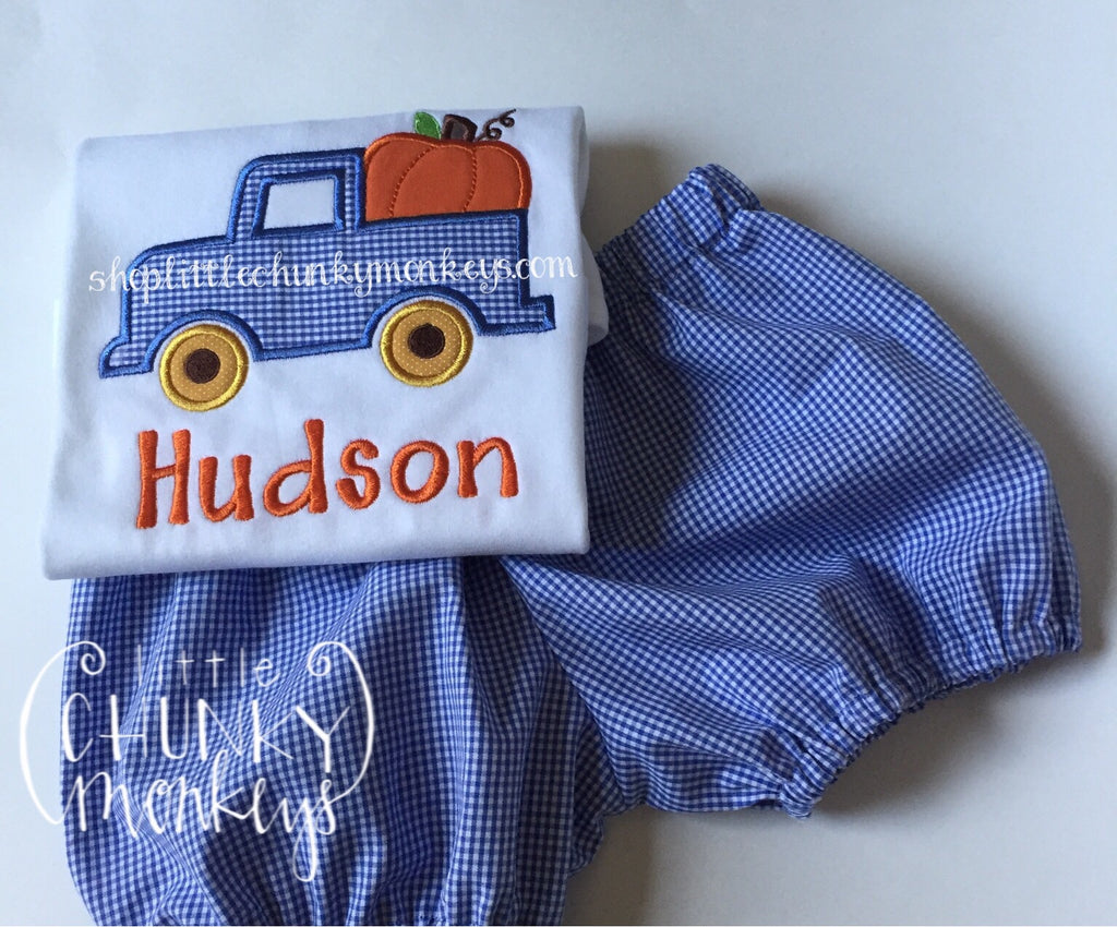 Boy Shirt- Boy Fall Shirt - Personalized Truck with Pumpkins