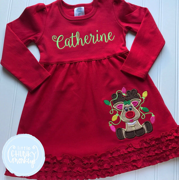 Girl Outfit - Christmas  Outfit - Reindeer Ruffle Dress