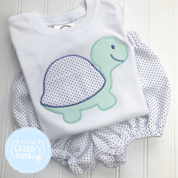 Boy Shirt - Applique Turtle with Pocket on White Shirt