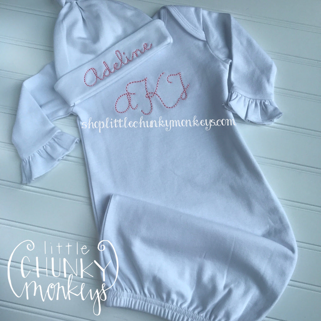 Baby Girl Outfit - Girl Infant Gown - Personalized Gown + Vintage Stitch