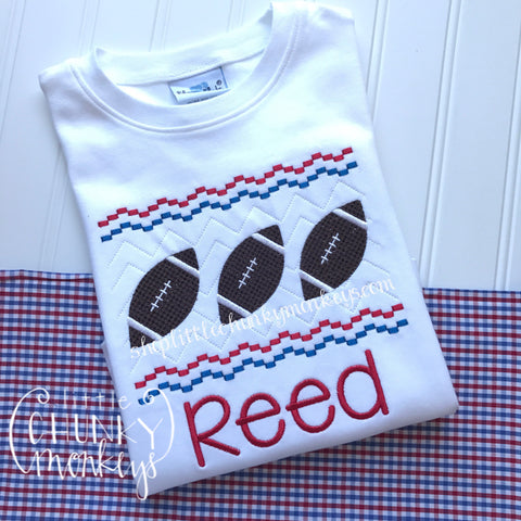 Boy Shirt - Faux Smock Football Tee - Royal & Red