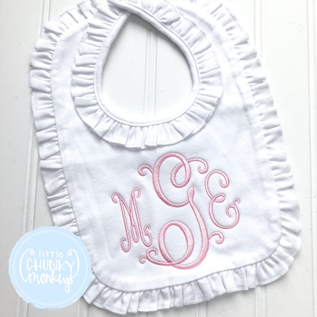 Baby Ruffle Bib with Monogram