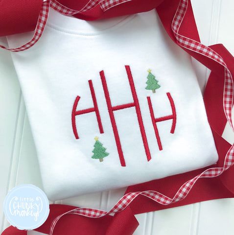 Boy Shirt -Circle Monogram with Mini Christmas Trees