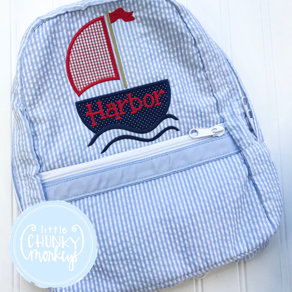 Backpack + Sailboat Appliqué Design on Baby Blue Seersucker