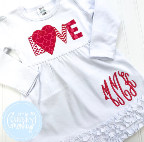 Girl Outfit - Girl Valentine Dress - Valentine Love Ruffle Dress