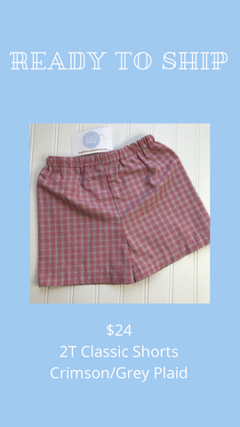 Ready to Ship - Crimson/Grey Plaid - 2T Classic Shorts