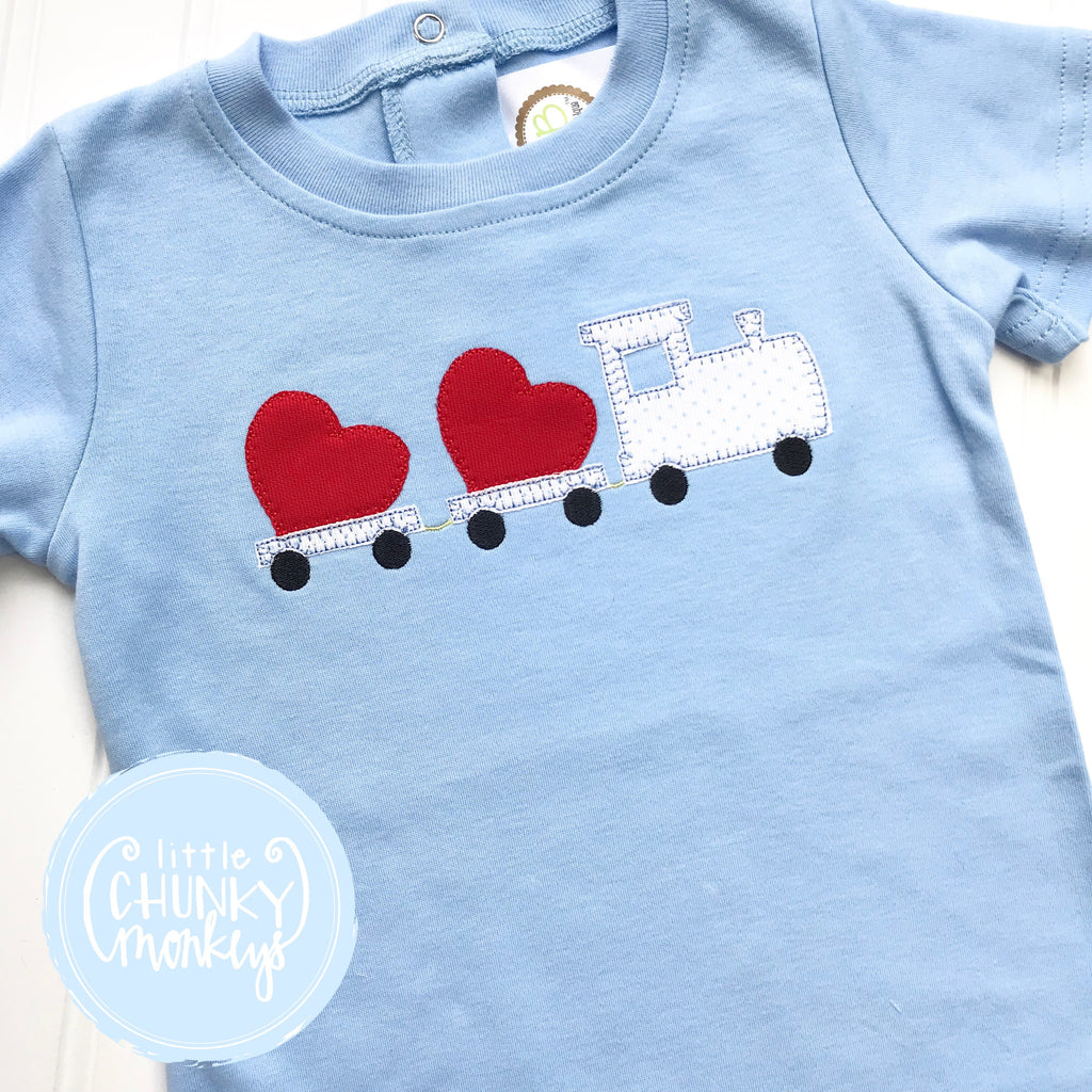 Boy Shirt - Boy Valentine Shirt - Train with Hearts on Light Blue Shirt