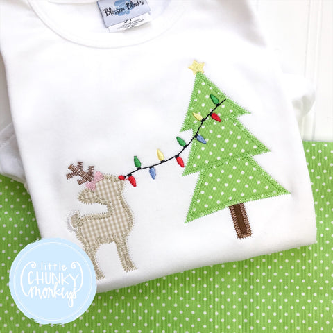 Girl Shirt - Applique Christmas Tree with Reindeer and Lights