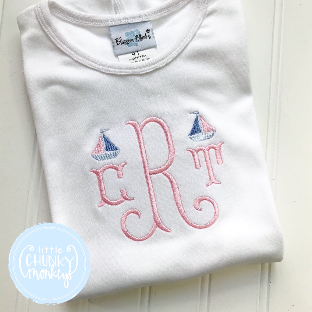 Girl Shirt - Mini Sailboat Monogram