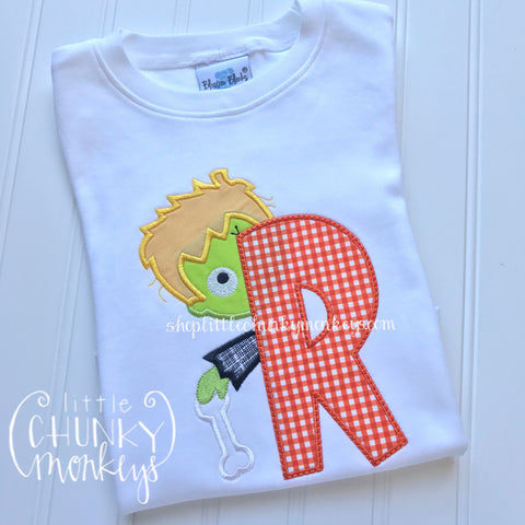 Boy Shirt - Boy Halloween Shirt -  Frankenstein Initial Shirt