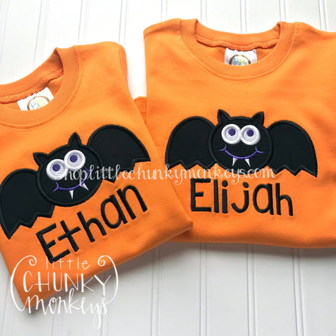 Boy Shirt - Boy Halloween Shirt - Personalized Bat Applique on Orange Shirt