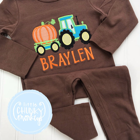 05cc0f685f6 Boy Thanksgiving Romper - Pumpkin Tractor on Brown Romper