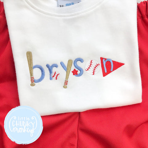 Boy Shirt - Name with Baseball items on White Shirt
