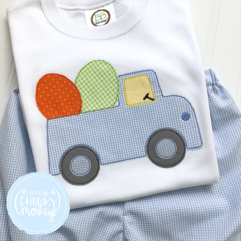 Boy Shirt - Boy Easter Shirt - Easter Truck Applique Shirt