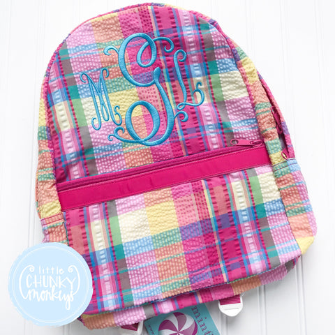 Backpack in Popsicle Plaid + Personalization