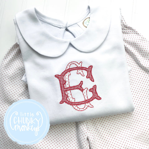 Girl Peter Pan Collar Shirt - Double Stack Applique Monogram
