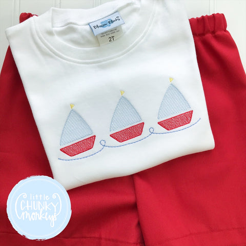 Boy Shirt - Embroidered Sail boats on White shirt