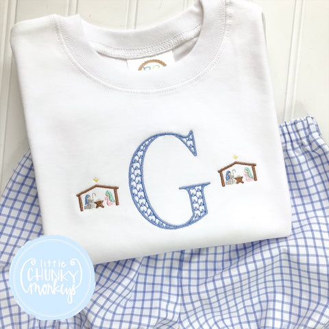 Boy Shirt -Embroidered Mini Nativity with Initial