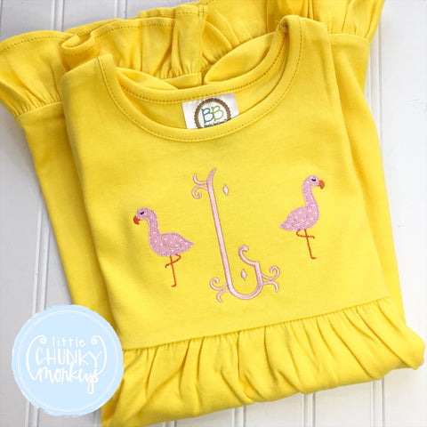 Girl Dress - Single Initial on Yellow Short Sleeve Dress