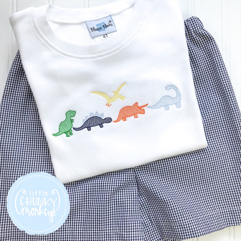 Boy Shirt - Embroidered Dinosaurs on White shirt