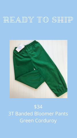 Ready to Ship - Green Corduroy - 3T Banded Bloomer Pants